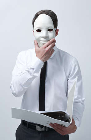businessman in a mask with clipboard