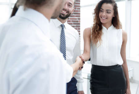 business women greet each other with a handshake Stock fotó
