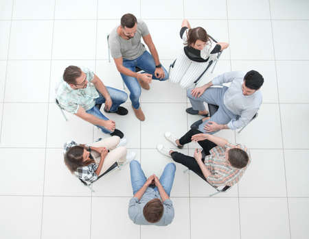 top view.business team discussing current issues