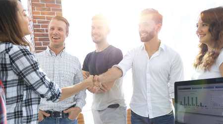 business handshake in modern office Standard-Bild