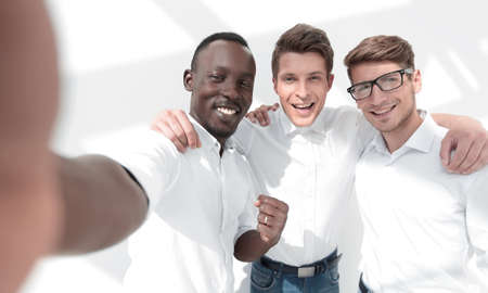 close up.international business team taking selfies