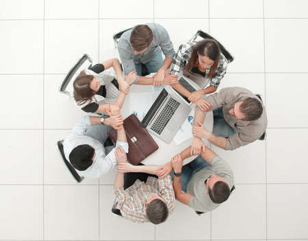 Business team people join hands forming circle Imagens - 112716257