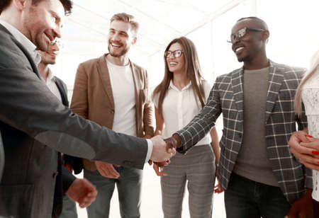 stylized image. handshake of international business partners Stock Photo