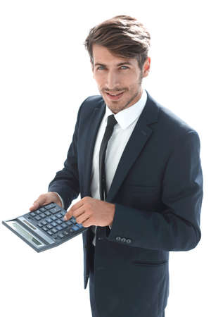man points to the calculator and looks at the camera