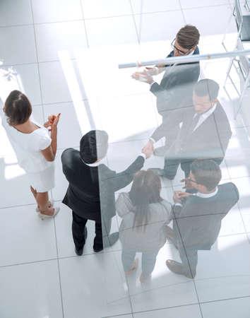 business background.handshake trading partners Stock Photo