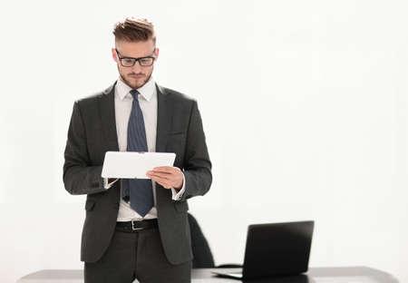 responsible businessman looking at the digital tablet screen Reklamní fotografie