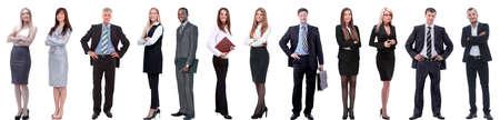 grupo de empresarios exitosos aislado en blanco Foto de archivo