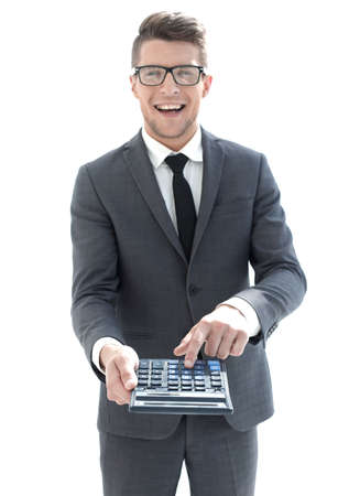 mens hand on calculators keyboard