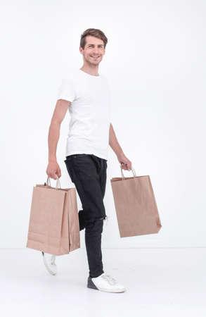 Merry man in a shopping trip