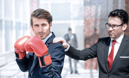 lawyer in Boxing gloves and his supervisor Stockfoto