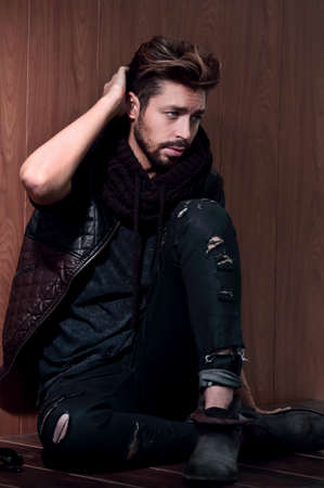 Studio portrait of stylish casual male
