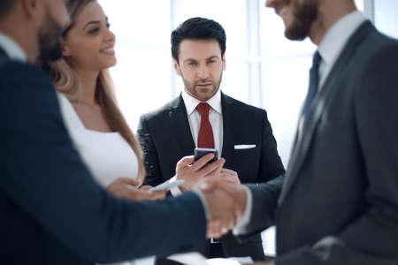 close up.handshake financial partners