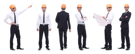 panoramic photo collage of qualified architect isolated on white