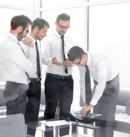 business colleagues at a business meeting in the office Stock Photo