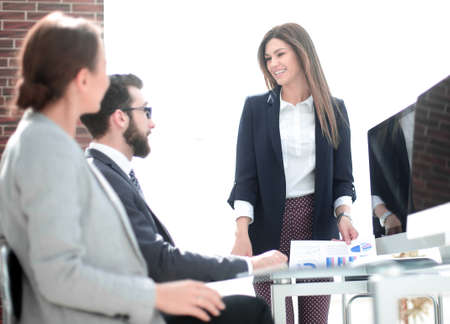 business woman holds a working meeting in the office
