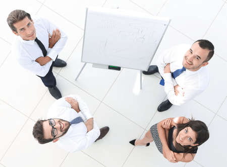 view from the top. background image of successful business team