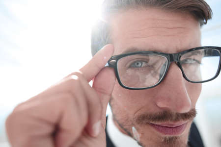 Portrait of serious man wearing glasses Imagens