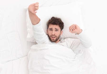 Image waking up beautiful men.