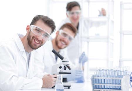 male biologist on blurred background