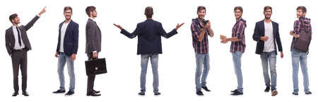 panoramic collage of self-motivated young man .isolated on white Stockfoto