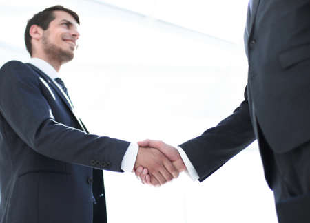 handshake of business partners on a light background. Imagens - 122525283