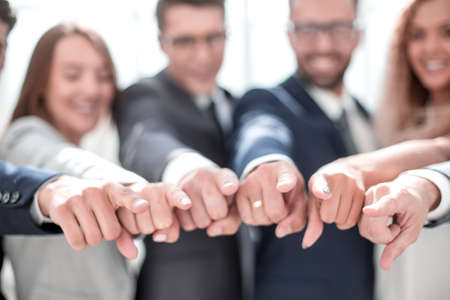 close up. business team pointing at you. Imagens - 122891208