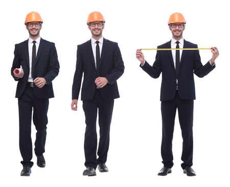in full growth .successful architect engineer in orange helmet. Imagens - 122891210