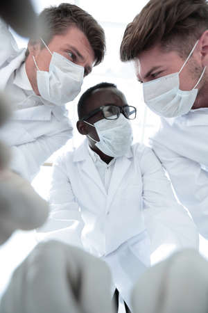 close up.a group of scientists working in the laboratory. Stock Photo