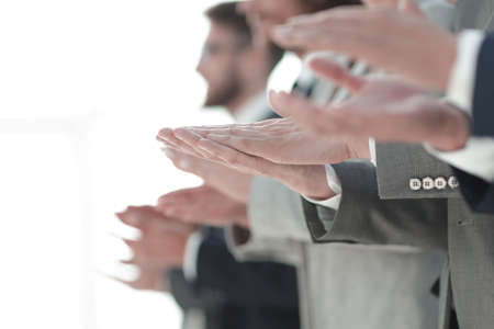 blurred image cheering business team. Foto de archivo
