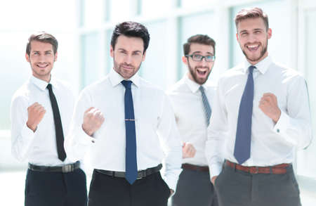 confident business team standing in the office.