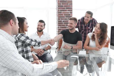 handshake of young employees