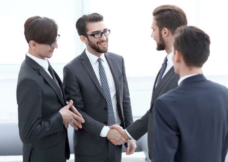 handshake business people in the office. Stock Photo