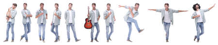 panoramic collage of young people leading a healthy lifestyle Banco de Imagens