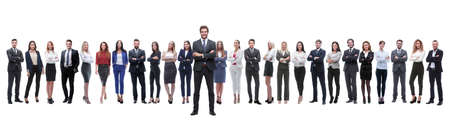 leader standing on the background of a large business team Stockfoto