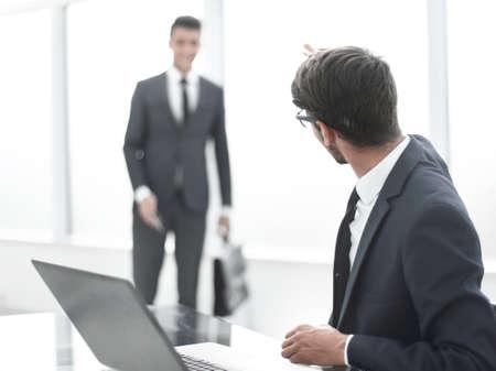 businessman greet their colleague