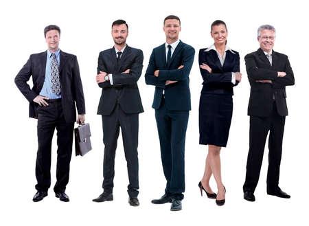 en pleno crecimiento, jefe y su equipo de negocios unidos Foto de archivo