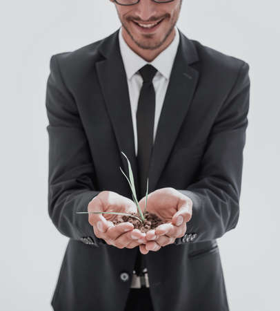 young businessman holding a sprout