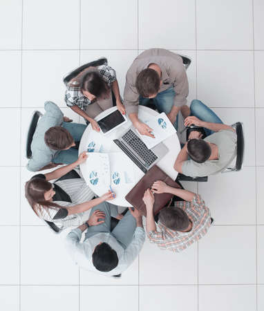 top view.lawyer and business team sitting at the round table