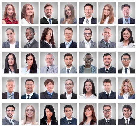 Collage de retratos de jóvenes empresarios exitosos