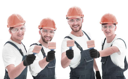 closeup.portrait of team of construction workers Imagens