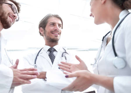 Group of medicine doctors talking during conference, bottom view Stock Photo
