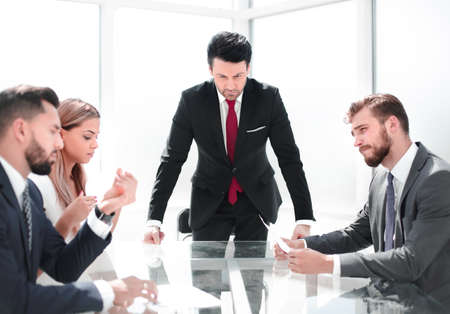 strict businessman terminates the contract with the employee.t