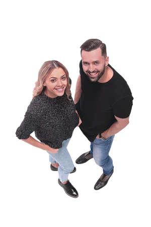 top view. stylish young couple looking at camera Фото со стока