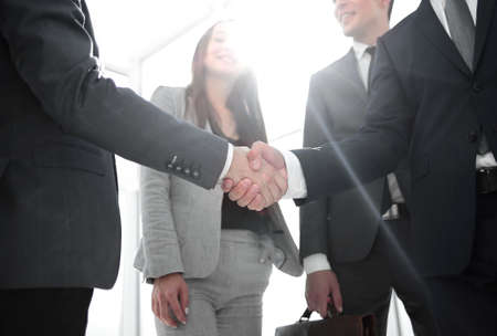 business people shaking hands when meeting in the office Stockfoto