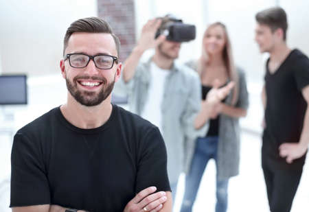 male software programmer testing a new app Фото со стока