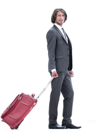 handsome businessman with Luggage
