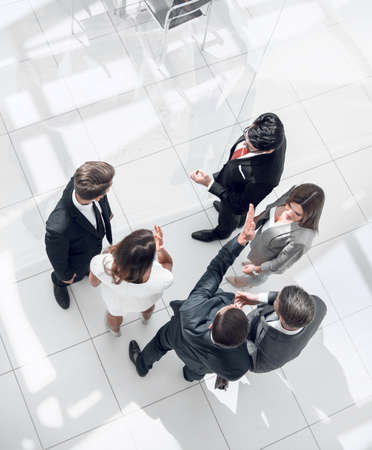 top view. employees discussing work issues Stock fotó