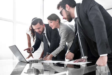 business team discusses the results of the new project. Stock Photo