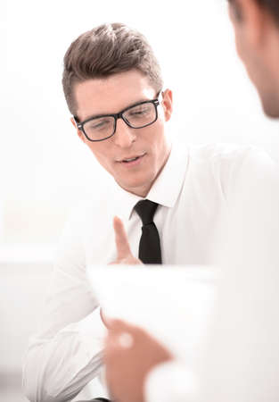 close up.business colleagues with digital tablet Stock Photo