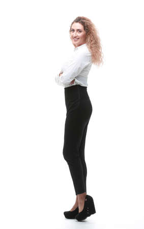 .full-length portrait of a woman assistant. Stock Photo